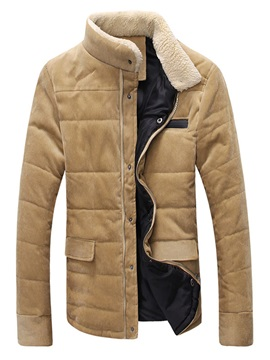 Mens Plain Sherpa Collar Corduroy Cotton Overcoats
