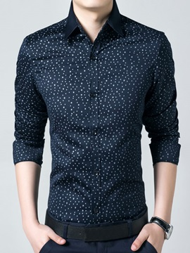 Mens Lapel Stars Printed Long Sleeve Shirts
