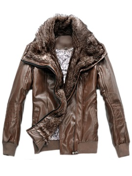 Faux Fur Collar Zipper Pu Mens Coat