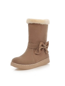 Bowknot Purfle Slip On Snow Boots