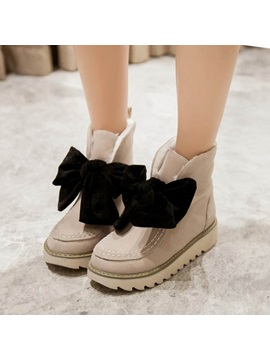 Bowtie Suede Wedge Sole Lace Up Booties