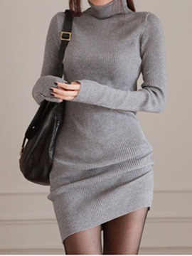 Solid Turtleneck Long Sleeve Sweater Dress