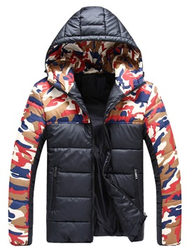 Mens Color Block Printed Zipper Camouflage Cotton Down Parka