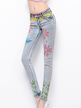 Delicate Printing Womens Pencil Jean