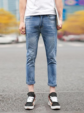 Mens Slim Fit Simple Design Ninth Jeans