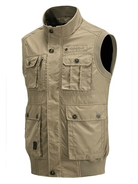 Mens Solid Color Pockets Premium Outdoor Casual Vests