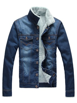 Mens Stand Collar Denim Sherpa Lined Coats