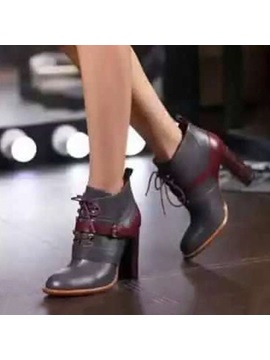 Buckles Round Toe Chunky Heel Ankle Boots