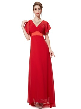 V Neck Empire Waist A Line Short Sleeves Chiffon Bridesmaid Dress