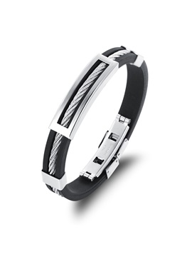 Square Titanium Steel Decorated Mens Bracelet