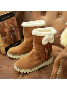 Bowknots Suede Slip On Snow Boots