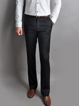 Mens Solid Color Slim Fit Straight Business Casual Pants