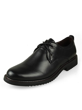 Solid Color Round Toe Lace Up Mens Dress Shoes