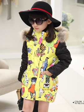 Printed Long Sleeve Zip Hat Thick Girls Outwear