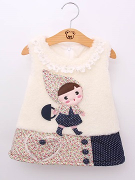 Cartoon Floral Beaded Decorated Sleeveless Girls Vest