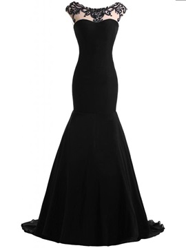 Elegant Scoop Neck Beaded Mermaid Black Evening Dress