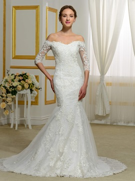 Off The Shoulder Appliques Half Sleeves Mermaid Wedding Dress