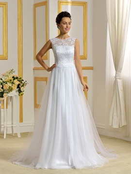 Floor Length A Line Beaded Lace Top White Wedding Dress