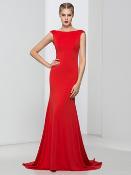 Simple Bateau Neck Cap Sleeves Red Evening Dress
