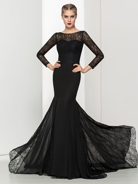 Vintage Long Sleeves Black Lace Mermaid Evening Dress
