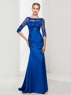 Graceful Bateau Neck Appliques Lace Mermaid Evening Dress