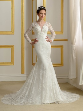 Lace V Neck Long Sleeve Button Zip Up Mermaid Wedding Dress