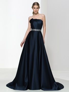 Elegant Strapless Pleats Beaded Waist Matte Satin Evening Dress