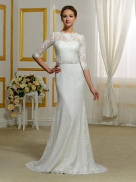 Half Sleeves Sheer Back Lace Sheath Wedding Dress