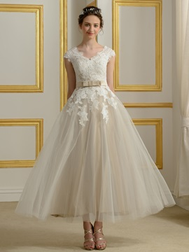 Tea Length A Line Lace V Neck Short Sleeve Wedding Dress