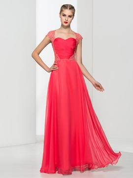 Cap Sleeves A Line Appliques Long Prom Dress