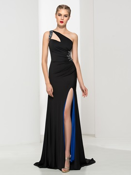 Sexy One Shoulder Beading Split Front Sheath Black Evening Dress