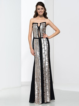 Elegant Sheath Strapless Sequins Floor Length Evening Dress