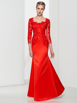 Square Neck 3 4 Length Sleeves Appliques Red Evening Dress