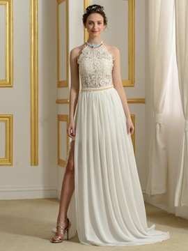 Beaded Halter Lace Top Side Slit Backless Wedding Dress