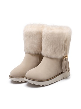 Faux Fur Tassels Slip On Snow Boots