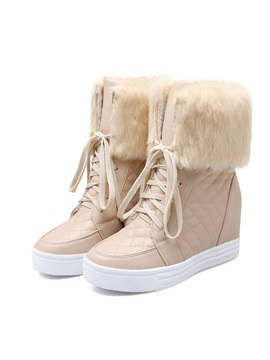 Faux Fur Elevator Heel Lace Up Cheap Snow Booties