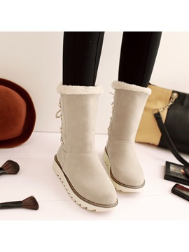 Suede Lace Up Back Snow Boots