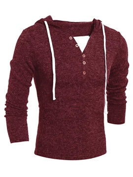 Lace Up Solid Color V Neck Hood Mens Sweaters