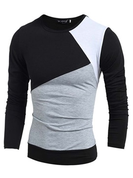 Three Colors Split Joint Crew Neck Mens Long Sleeve T Shirt