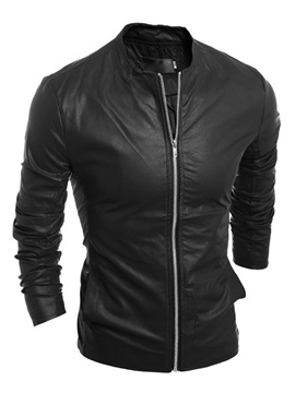 Short Stand Collar Zipper Up Mens Pu Motor Jackets