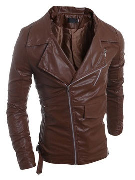 Golilla Oblique Plain Mens Pu Jackets