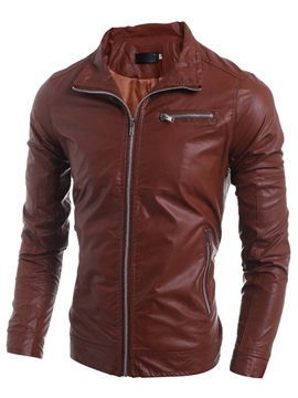 Slim Fit Solid Color Zipper Pockets Mens Pu Jackets