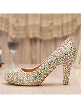 Full Rhinestone High Heel Wedding Shoes