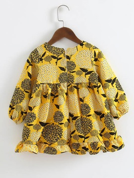 Yellow Printed Long Sleeve Round Neck Girls Dress