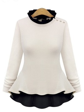 Chic Collar Button Decoration Sweater