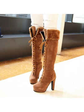 Suede Lace Up Front Thigh High Boots