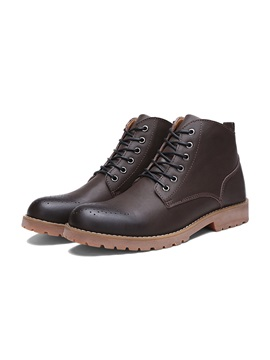 Breathable Round Toe Lace Up Mens Boots