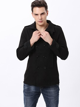 Mens Lapel Double Breasted Windproof Wool Coats
