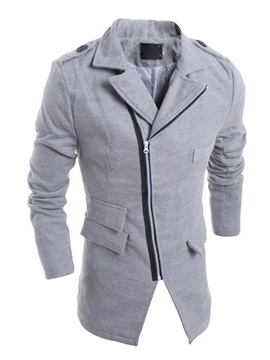 Mens Middle Length Oblique Zipper Lapel Wool Overcoats