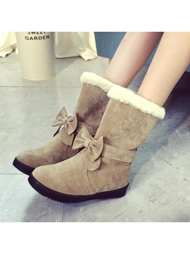 Purfle Bowknot Suede Snow Boots